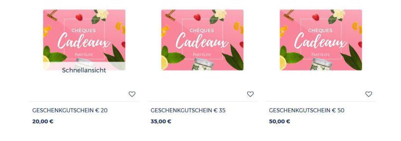 PartyLite ® Kerzen Online Shop - Geschenk - Gutscheine online bestellen